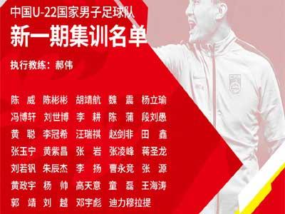 最新一期U22国奥大名单出炉,张玉宁领衔