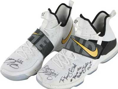 皇帝的旧鞋,17年詹姆斯送给欧文的詹14签名战靴被拍卖