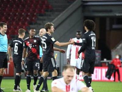 格纳布里造点加破门,拜仁慕尼黑客场2-1小胜科隆