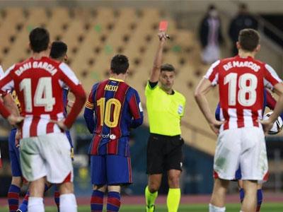梅西染红,格列兹曼双响难救主,毕巴3-2逆转巴萨夺西超杯冠军